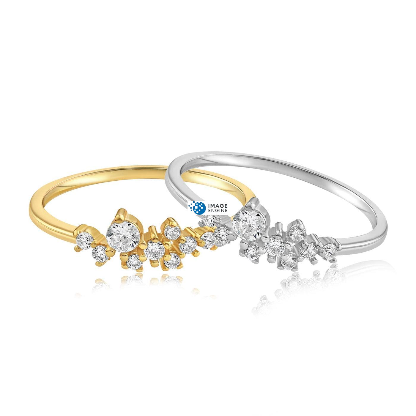 Sasha Sparkle Ring - Side by Side - 18K Yellow Gold and 925 Sterling Silver