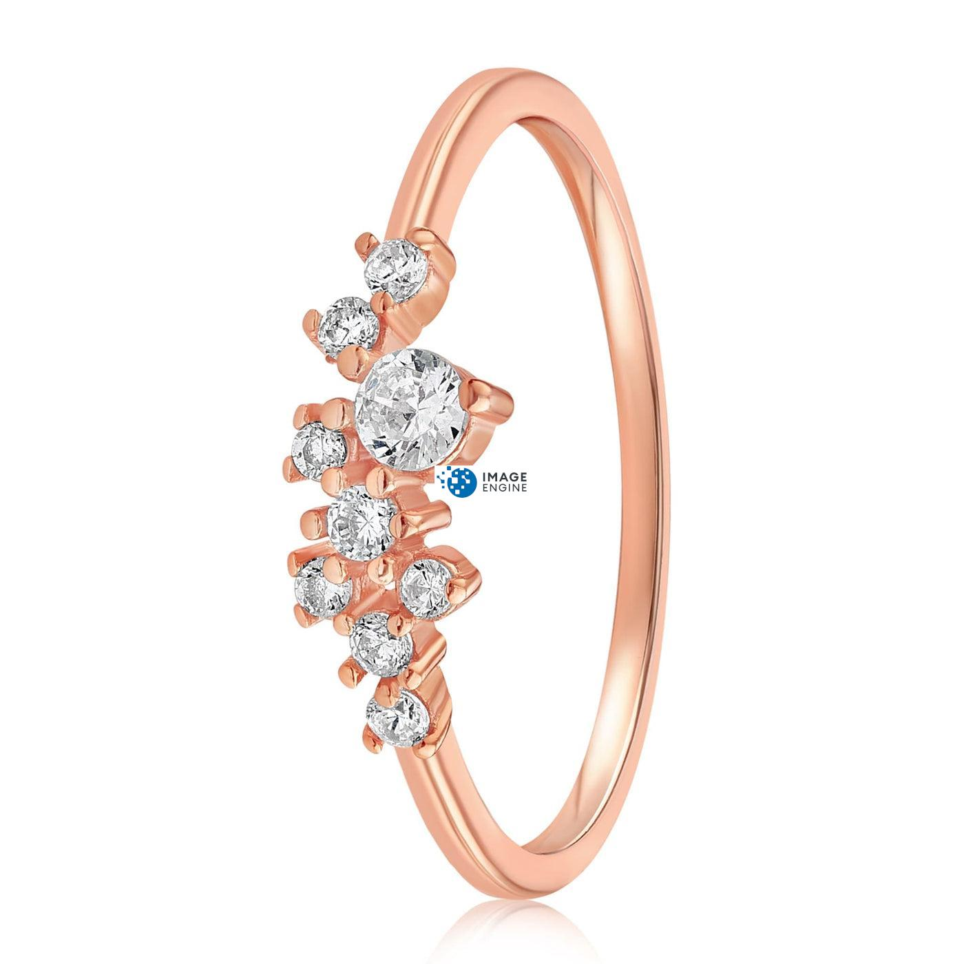 Sasha Sparkle Ring - Side View - 18K Rose Gold Vermeil