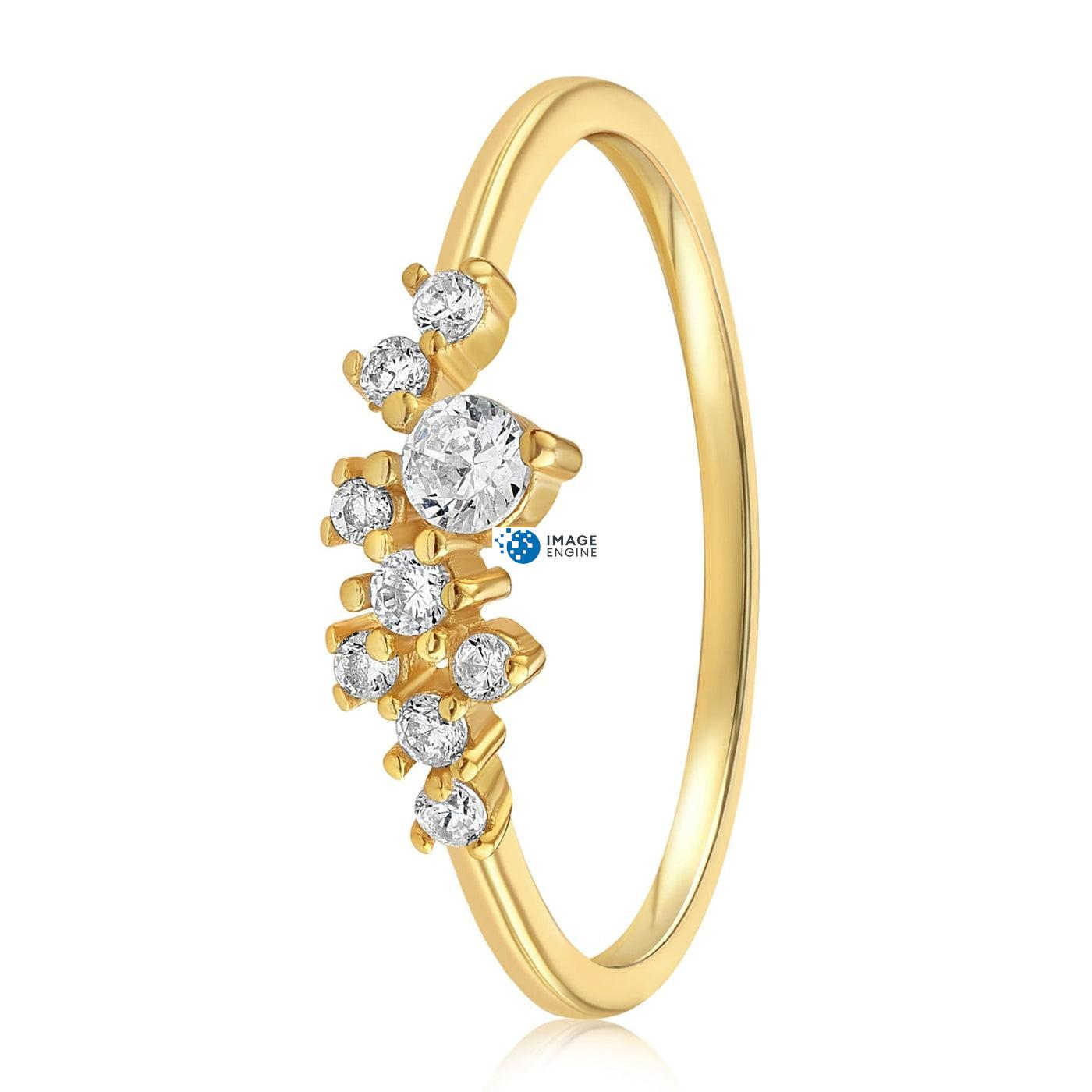 Sasha Sparkle Ring - Side View - 18K Yellow Gold Vermeil