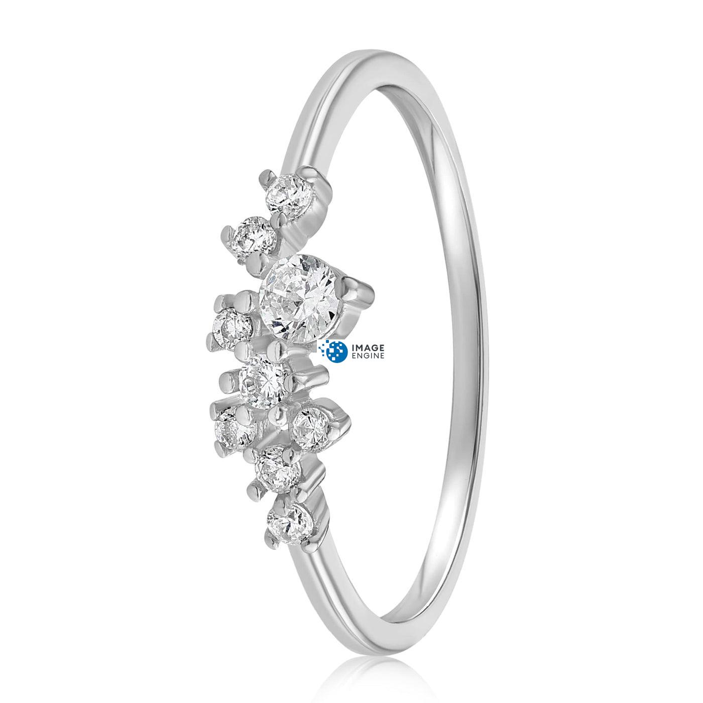 Sasha Sparkle Ring - Side View - 925 Sterling Silver