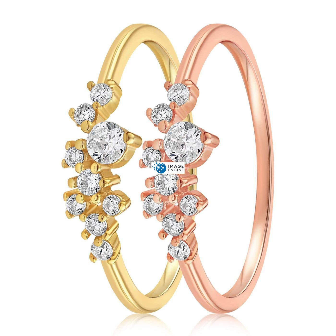 Sasha Sparkle Ring - Side by Side - 18K Yellow Gold Vermeil and 18K Rose Gold Vermeil
