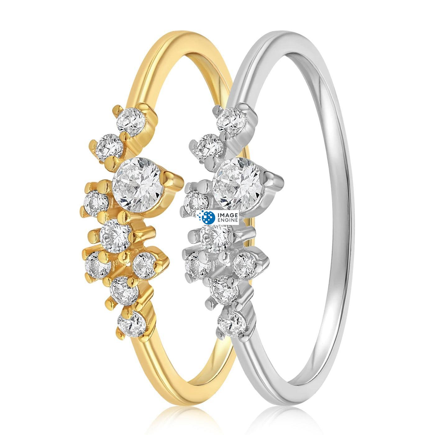 Sasha Sparkle Ring - Front View Side by Side - 18K Yellow Gold Vermeil and 925 Sterling Silver
