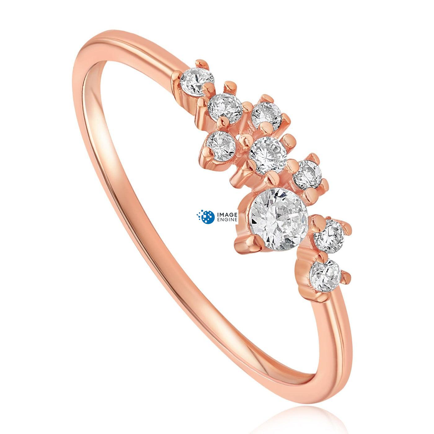Sasha Sparkle Ring - Three Quarter View - 18K Rose Gold Vermeil