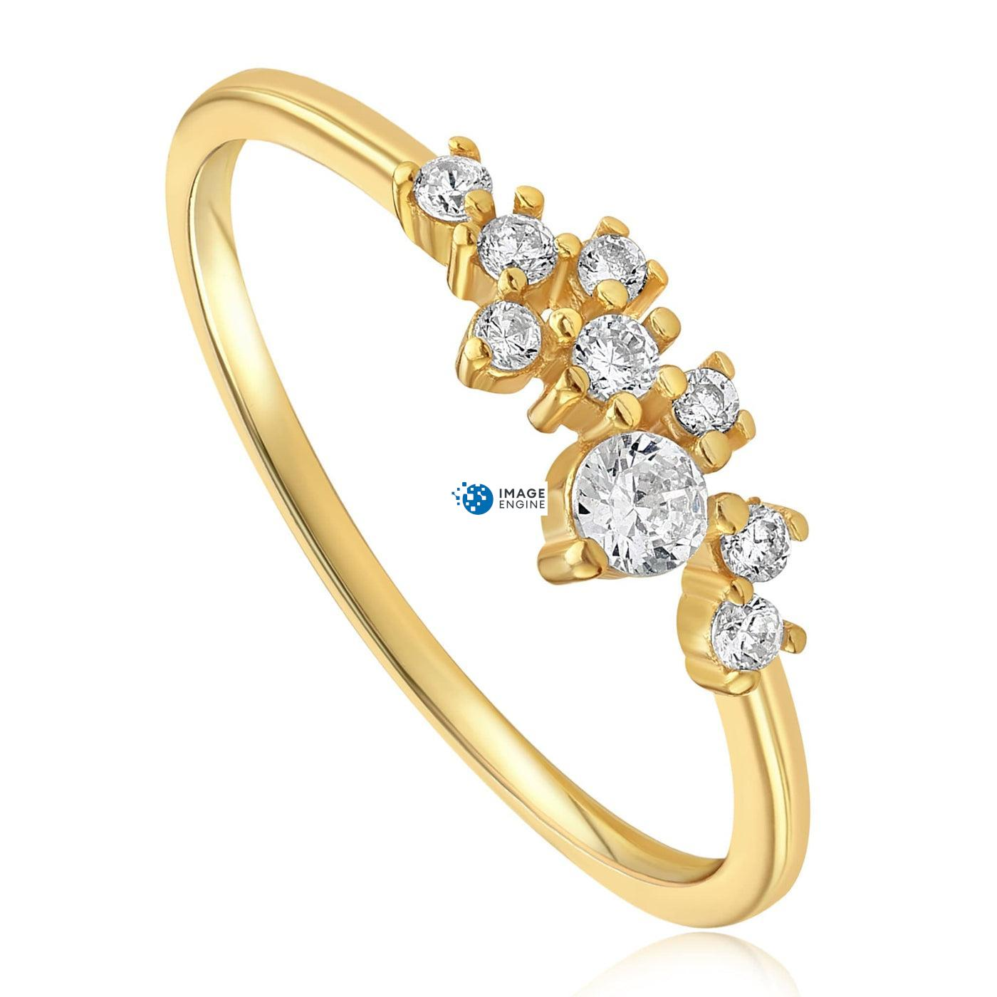 Sasha Sparkle Ring - Three Quarter View - 18K Yellow Gold Vermeil