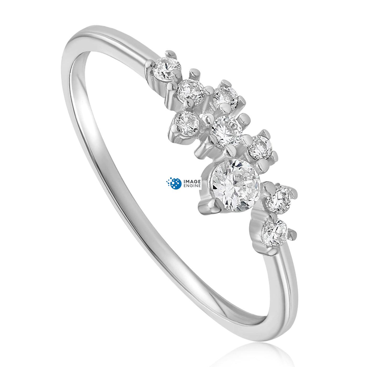 Sasha Sparkle Ring - Three Quarter View - 925 Sterling Silver