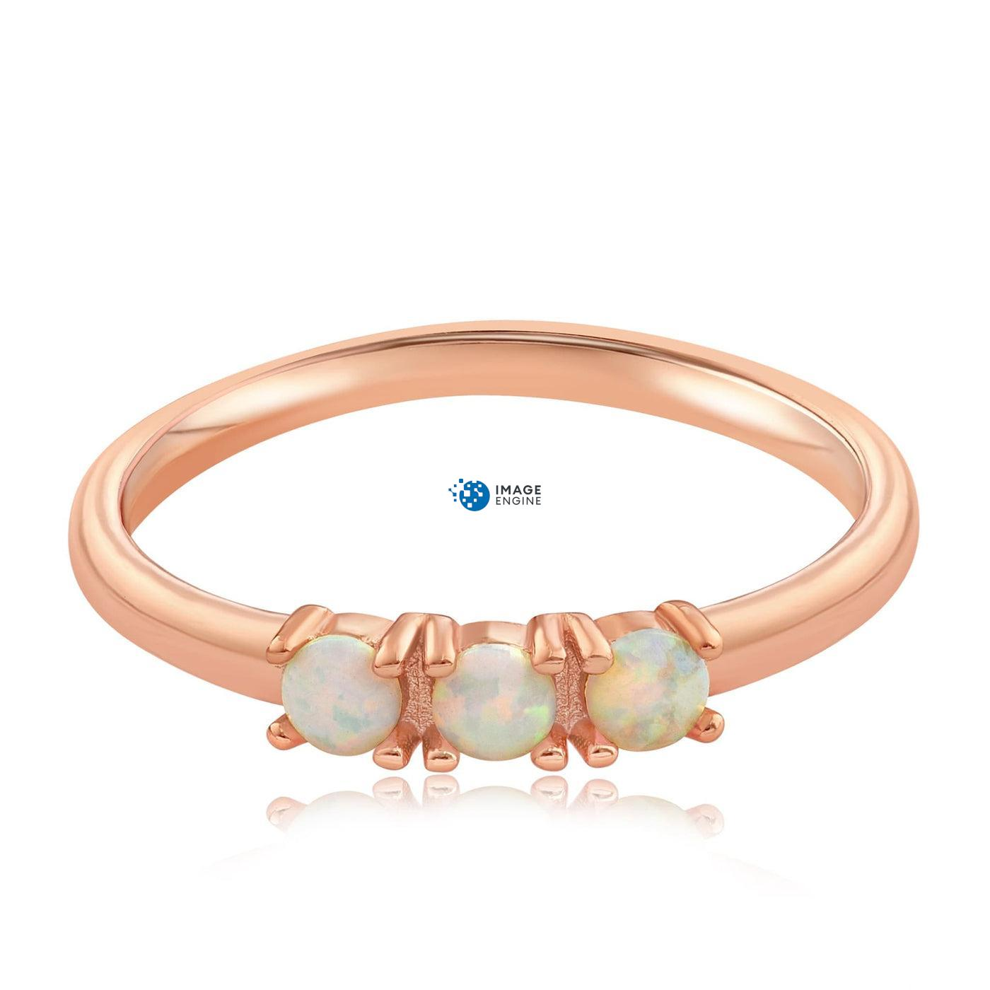 Simple Dots White Fire Opal Ring - Front View Facing Down - 18K Rose Gold Vermeil