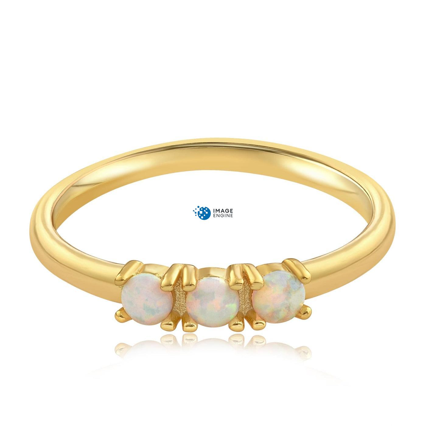 Simple Dots White Fire Opal Ring - Front View Facing Down - 18K Yellow Gold Vermeil