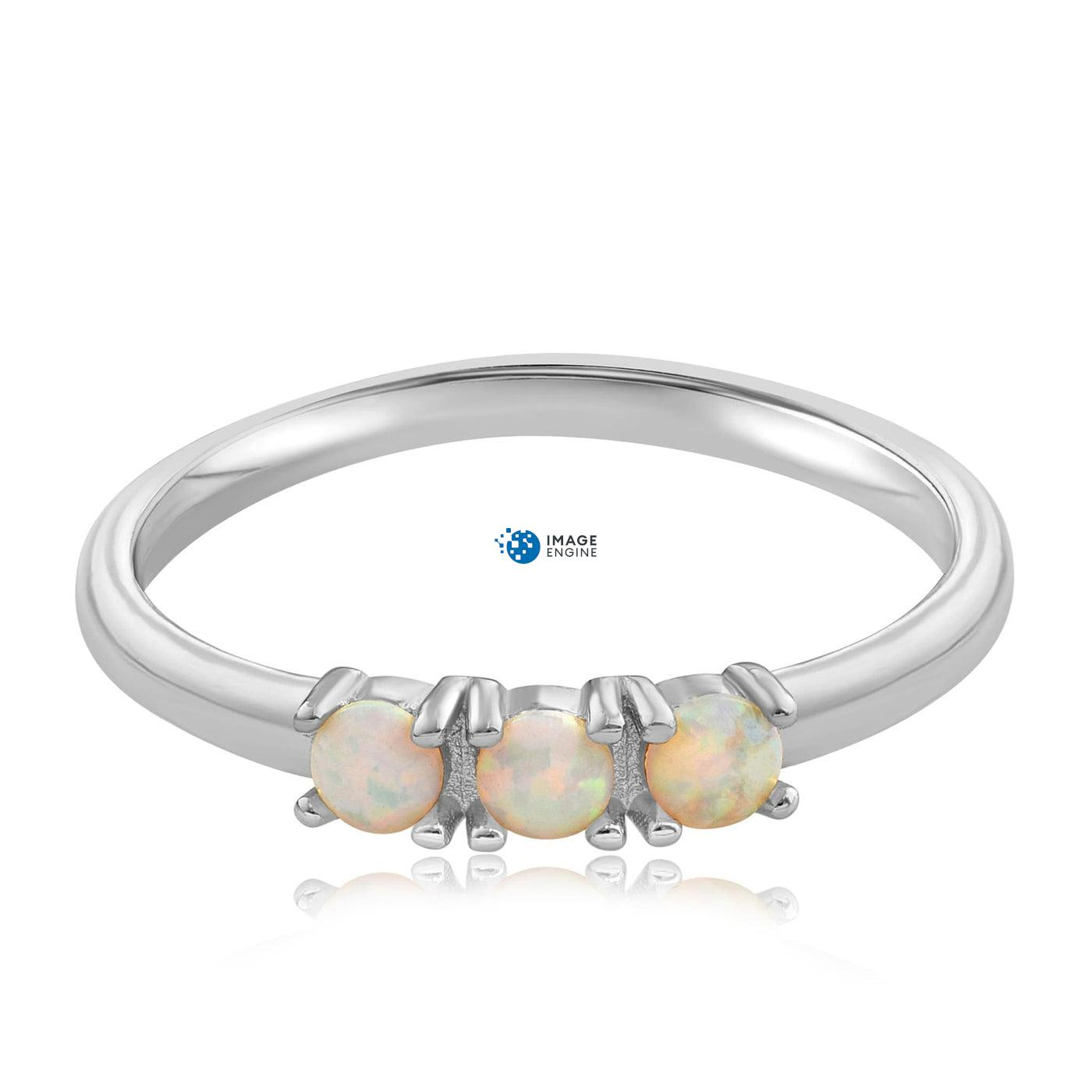 Simple Dots White Fire Opal Ring - Front View Facing Down - 925 Sterling Silver