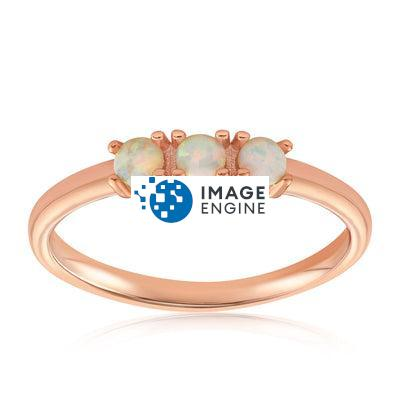 Simple Dots White Fire Opal Ring - Front View Facing Up - 18K Rose Gold Vermeil