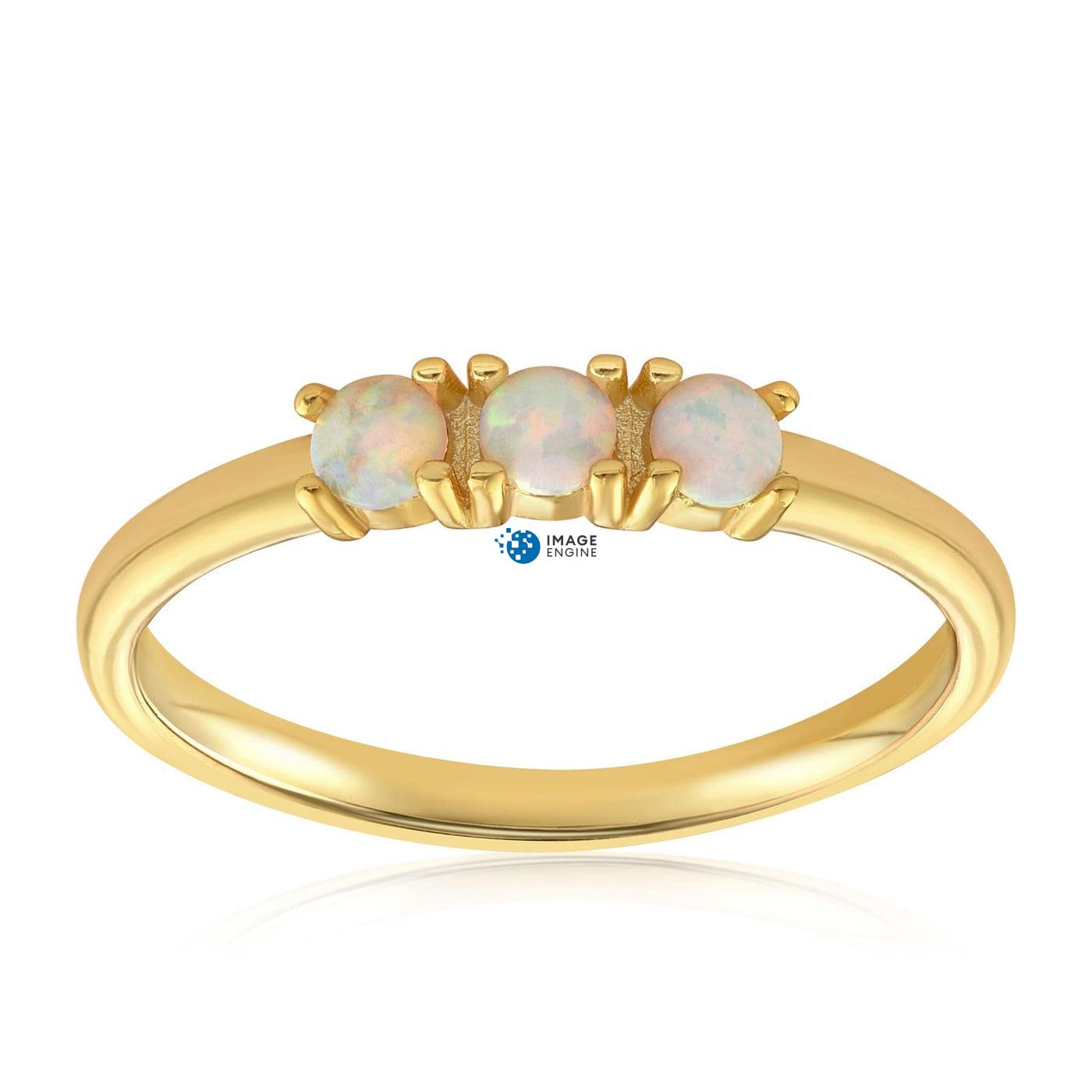 Simple Dots White Fire Opal Ring - Front View Facing Up - 18K Yellow Gold Vermeil