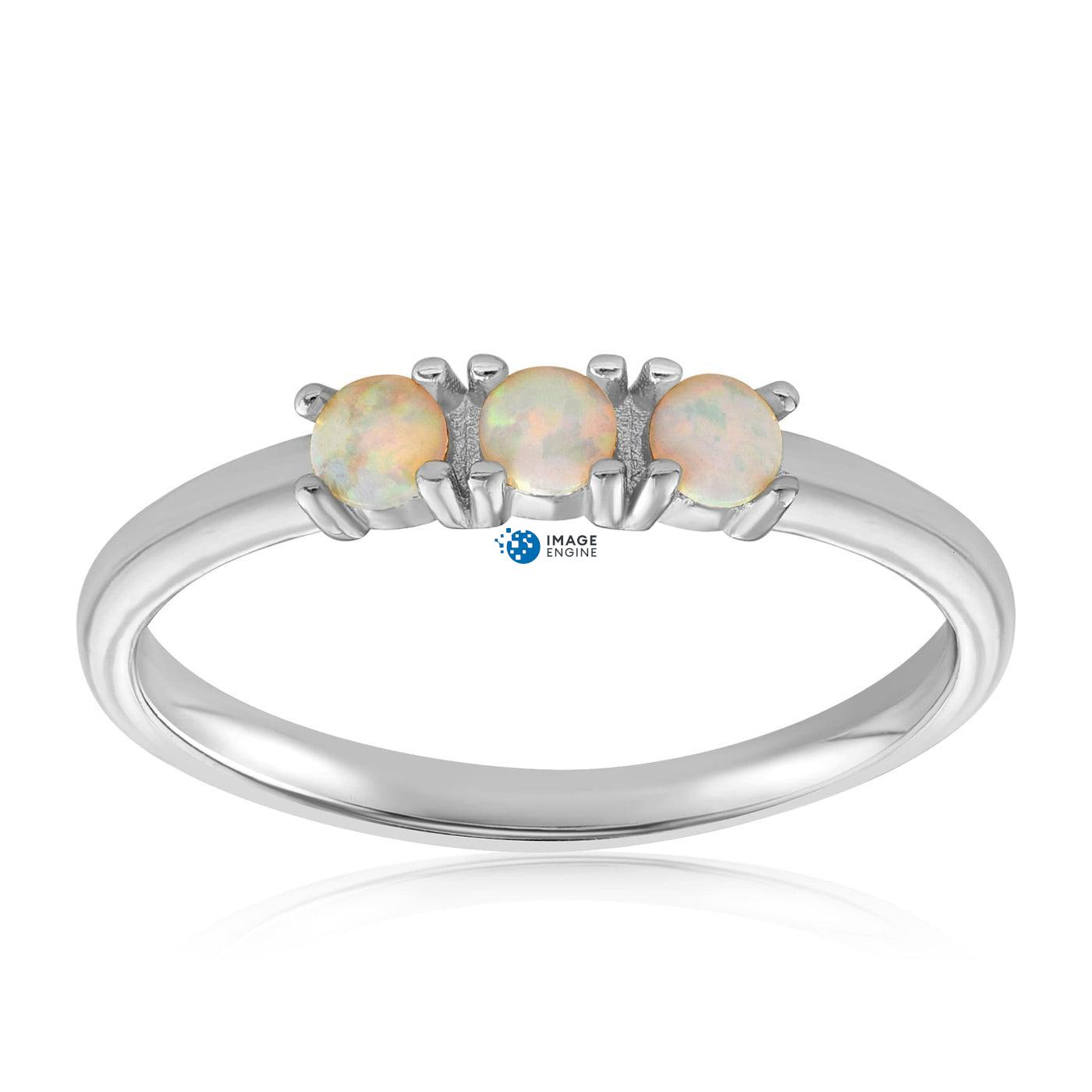 Simple Dots White Fire Opal Ring - Front View Facing Up - 925 Sterling Silver