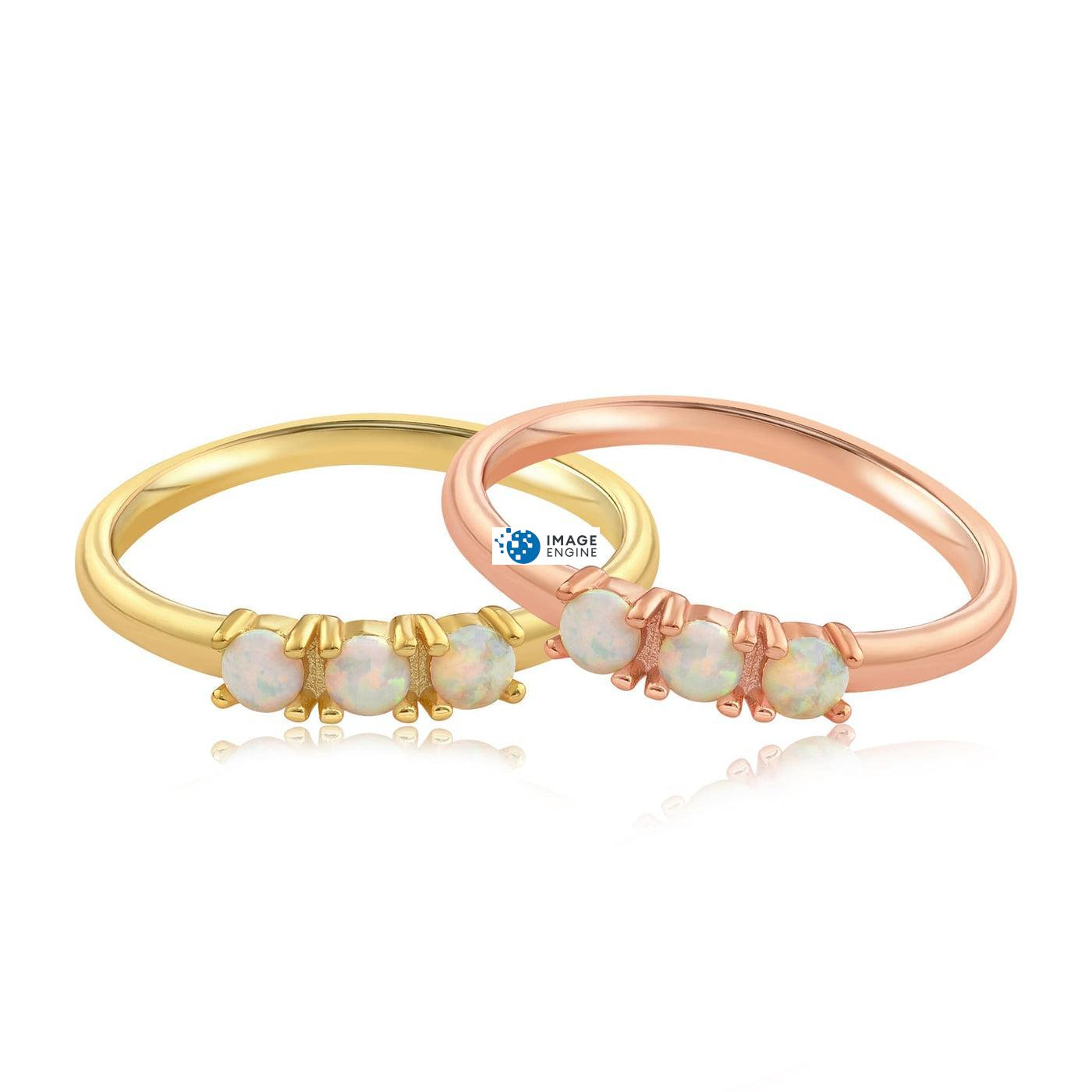 Simple Dots White Fire Opal Ring - Front View Side by Side - 18K Rose Gold Vermeil and 18K Yellow Gold Vermeil