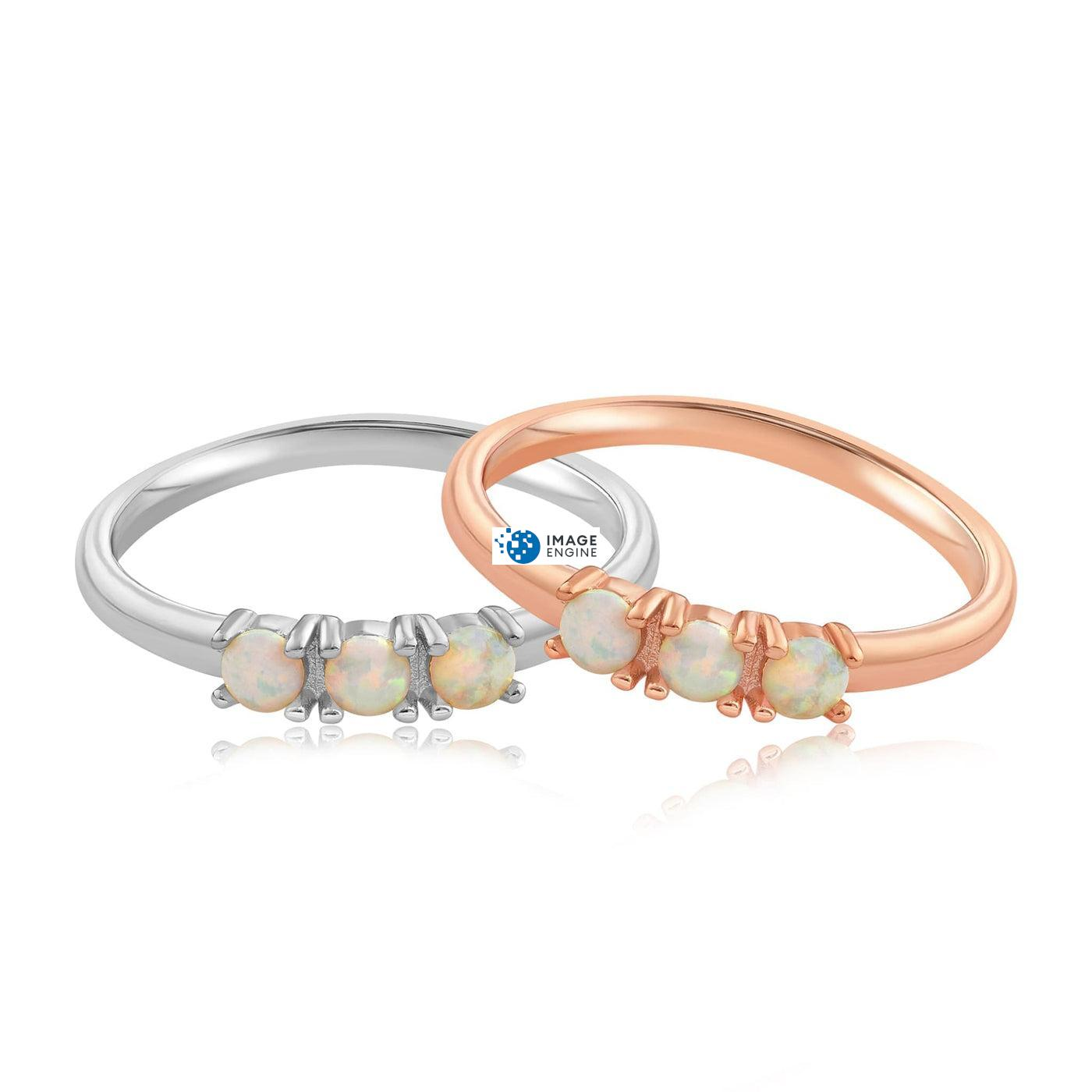 Simple Dots White Fire Opal Ring - Front View Side by Side - 18K Rose Gold Vermeil and 925 Sterling Silver
