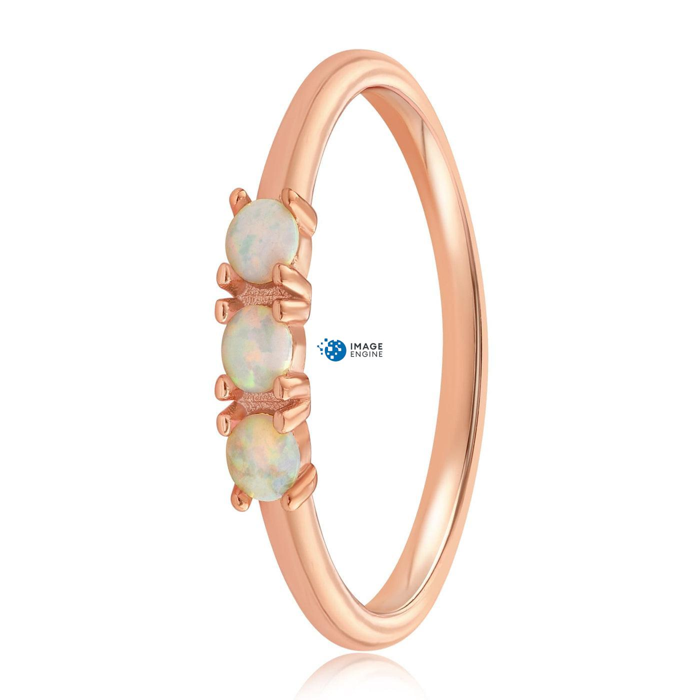 Simple Dots White Fire Opal Ring - Side View - 18K Rose Gold Vermeil