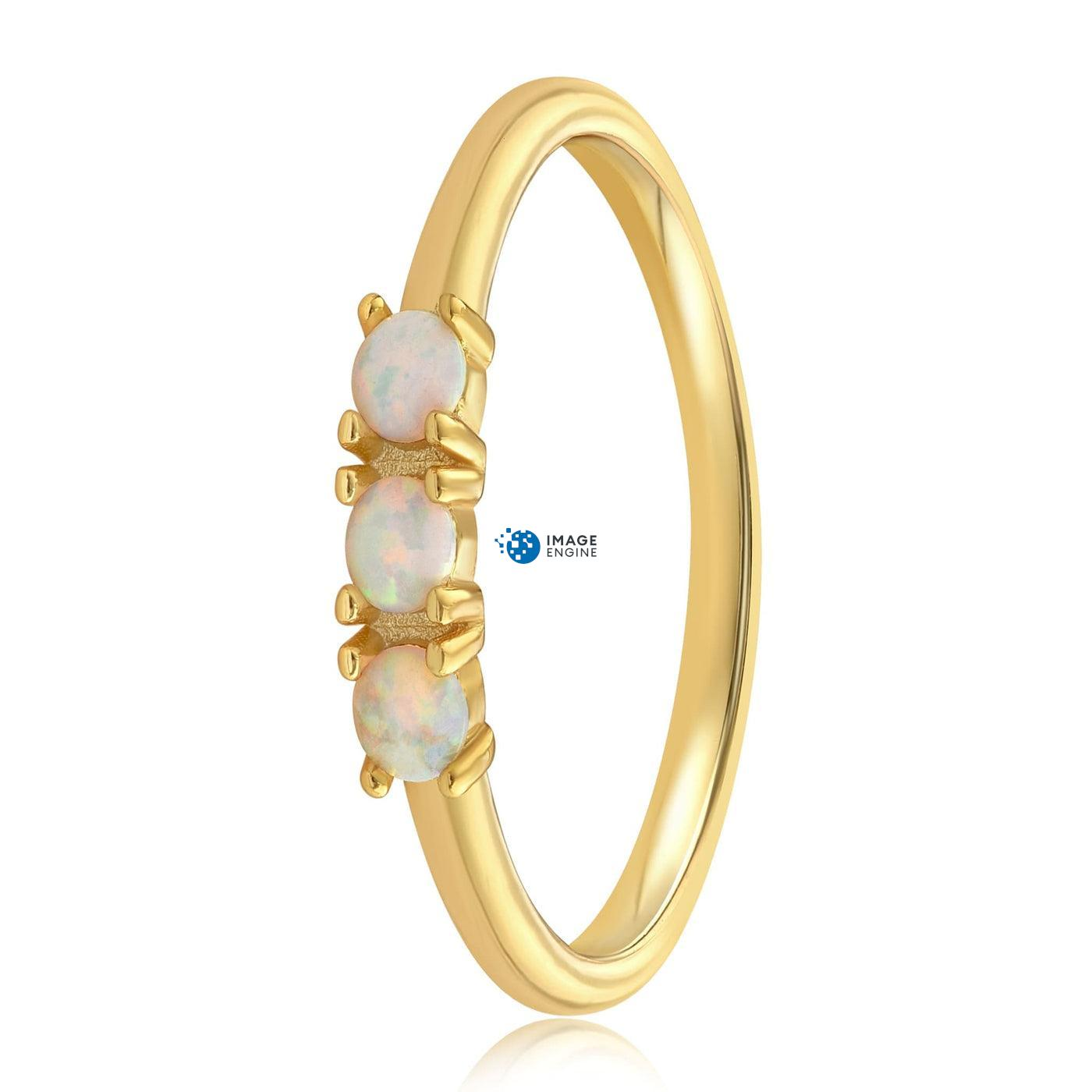 Simple Dots White Fire Opal Ring - Side View - 18K Yellow Gold Vermeil