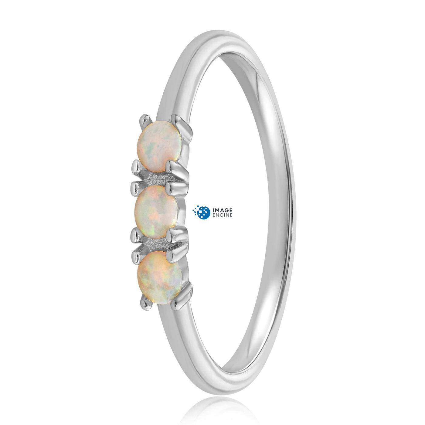 Simple Dots White Fire Opal Ring - Side View - 925 Sterling Silver