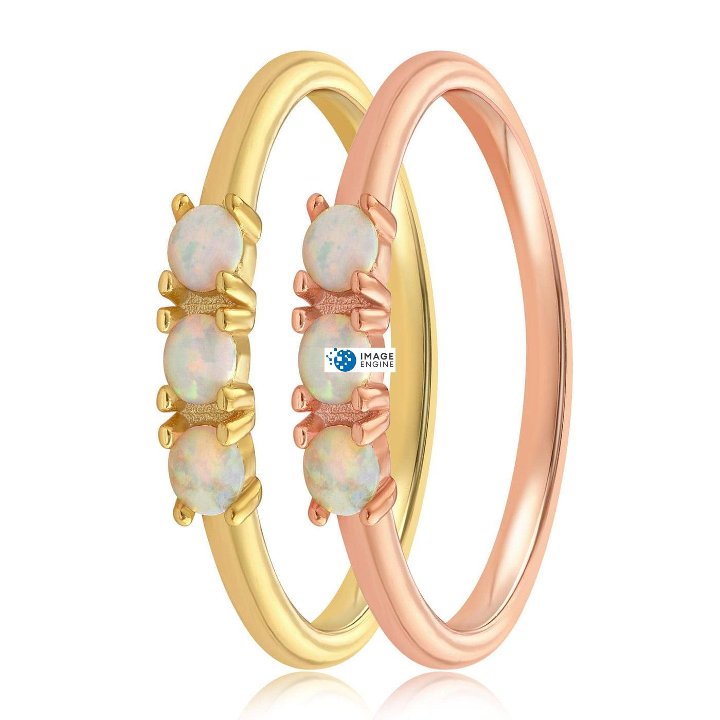 Simple Dots White Fire Opal Ring - Side by Side - 18K Yellow Gold Vermeil and 18K Rose Gold Vermeil