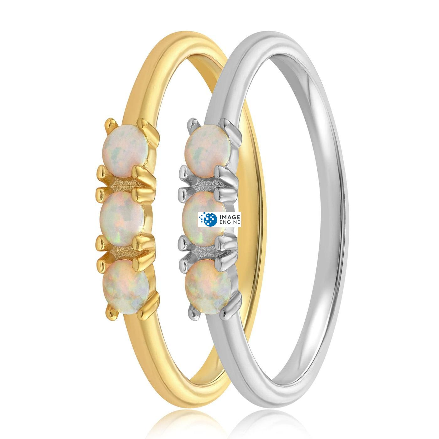 Simple Dots White Fire Opal Ring - Side by Side - 18K Yellow Gold and 925 Sterling Silver