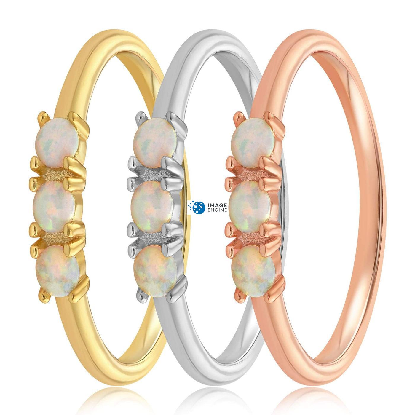 Simple Dots White Fire Opal Ring - Side by Side - Collection