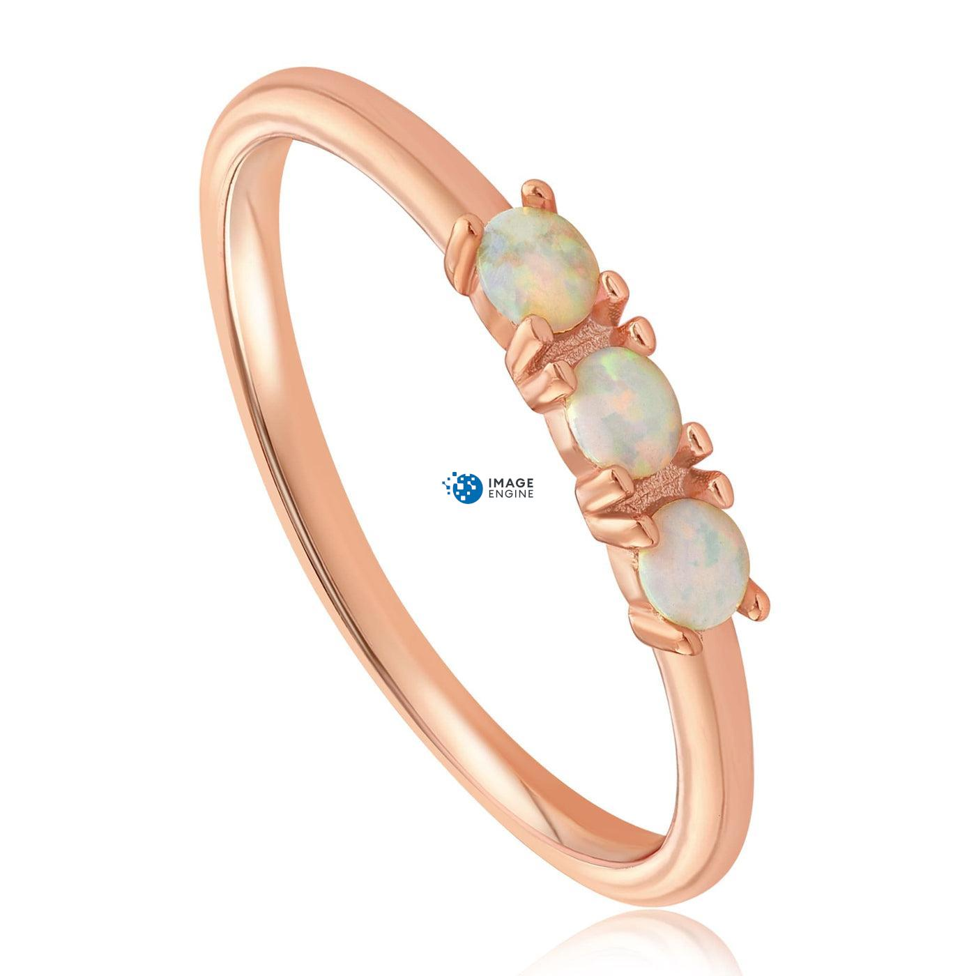 Simple Dots White Fire Opal Ring - Three Quarter View - 18K Rose Gold Vermeil