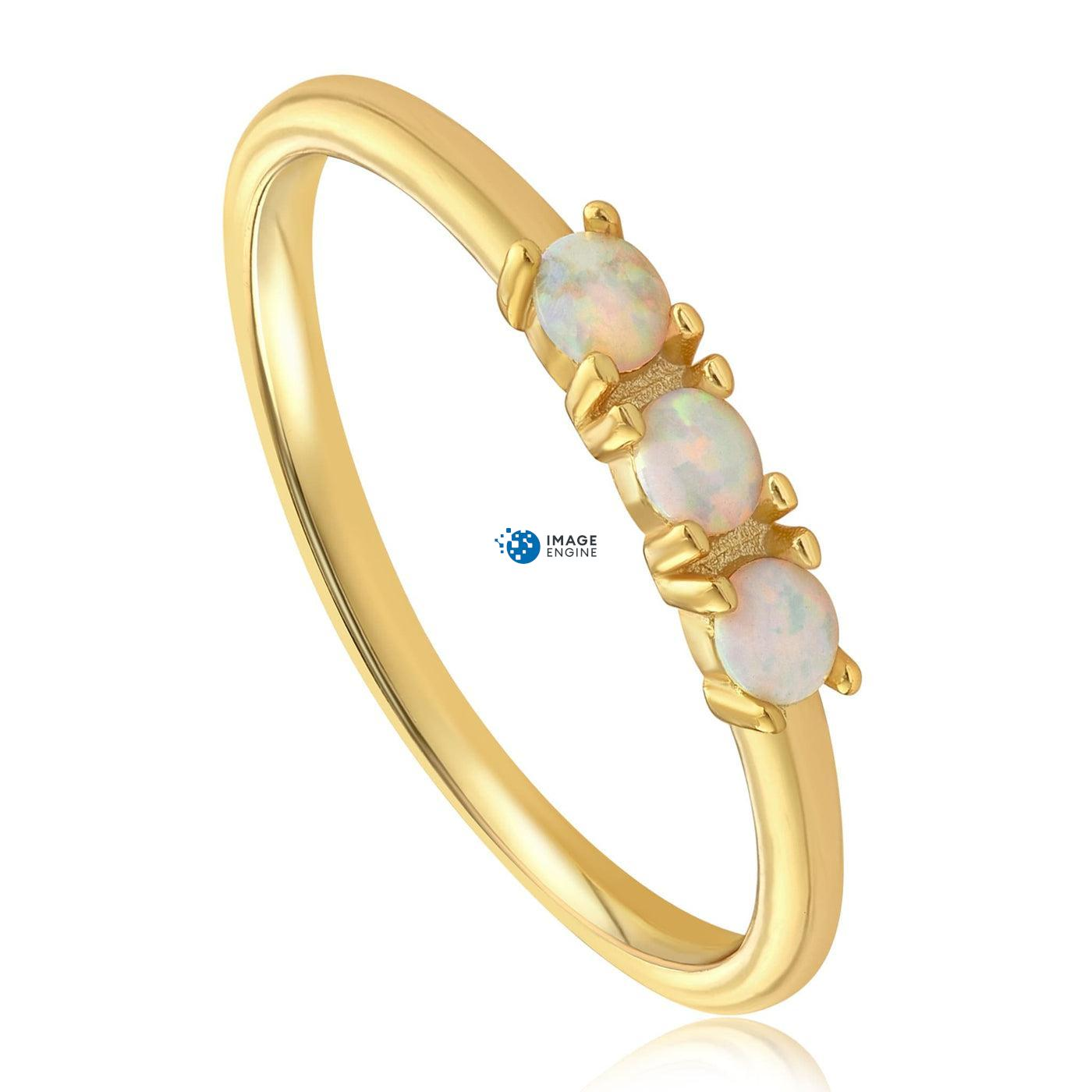 Simple Dots White Fire Opal Ring - Three Quarter View - 18K Yellow Gold Vermeil