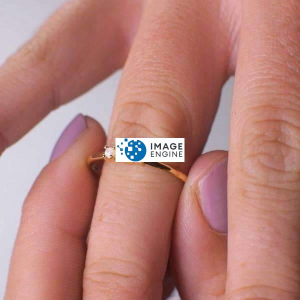 Simple Dots White Fire Opal Ring - Wearing on Ring Finger on Higher Angle View - 18K Rose Gold Vermeil