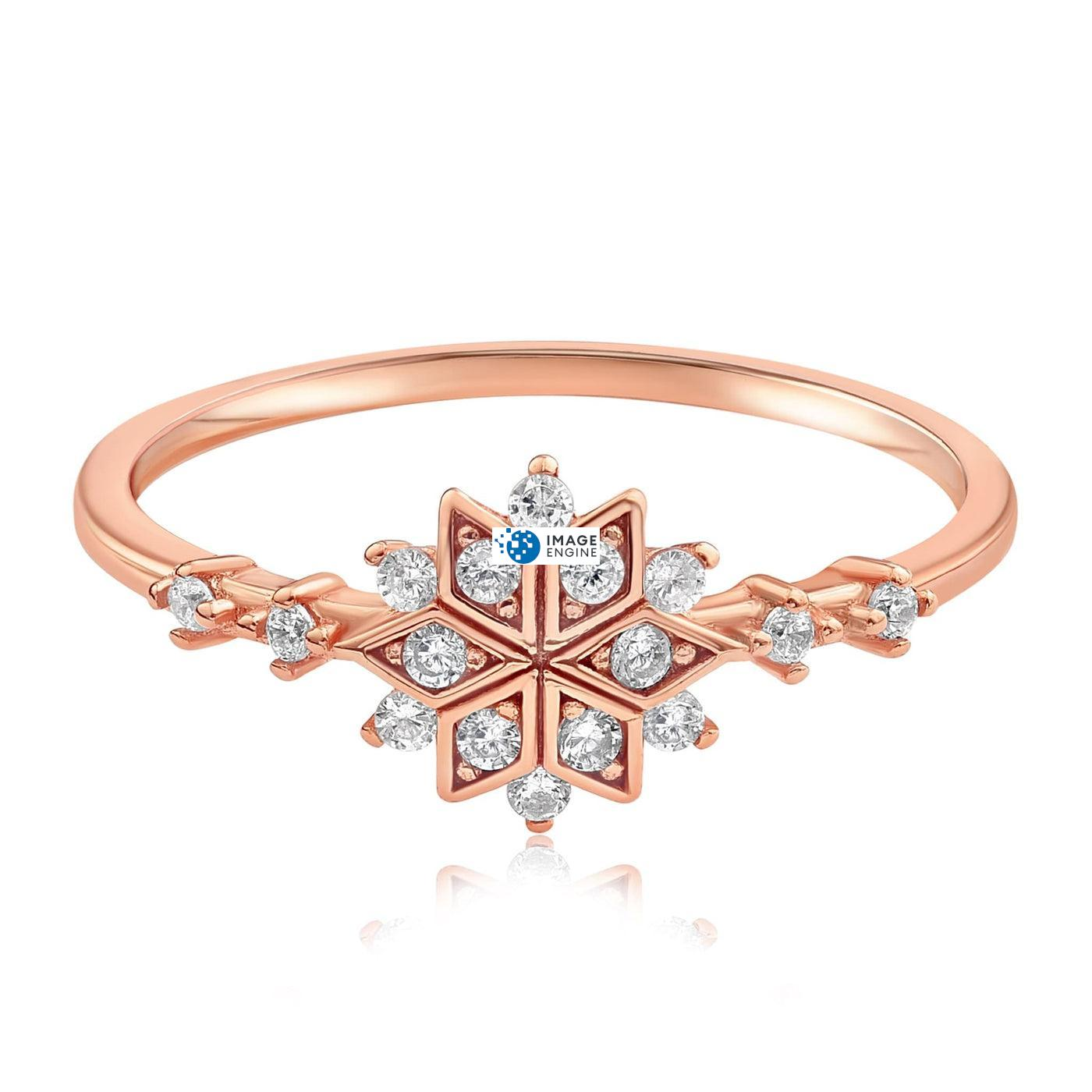 Sophia Snowflake Ring - Front View Facing Down - 18K Rose Gold Vermeil