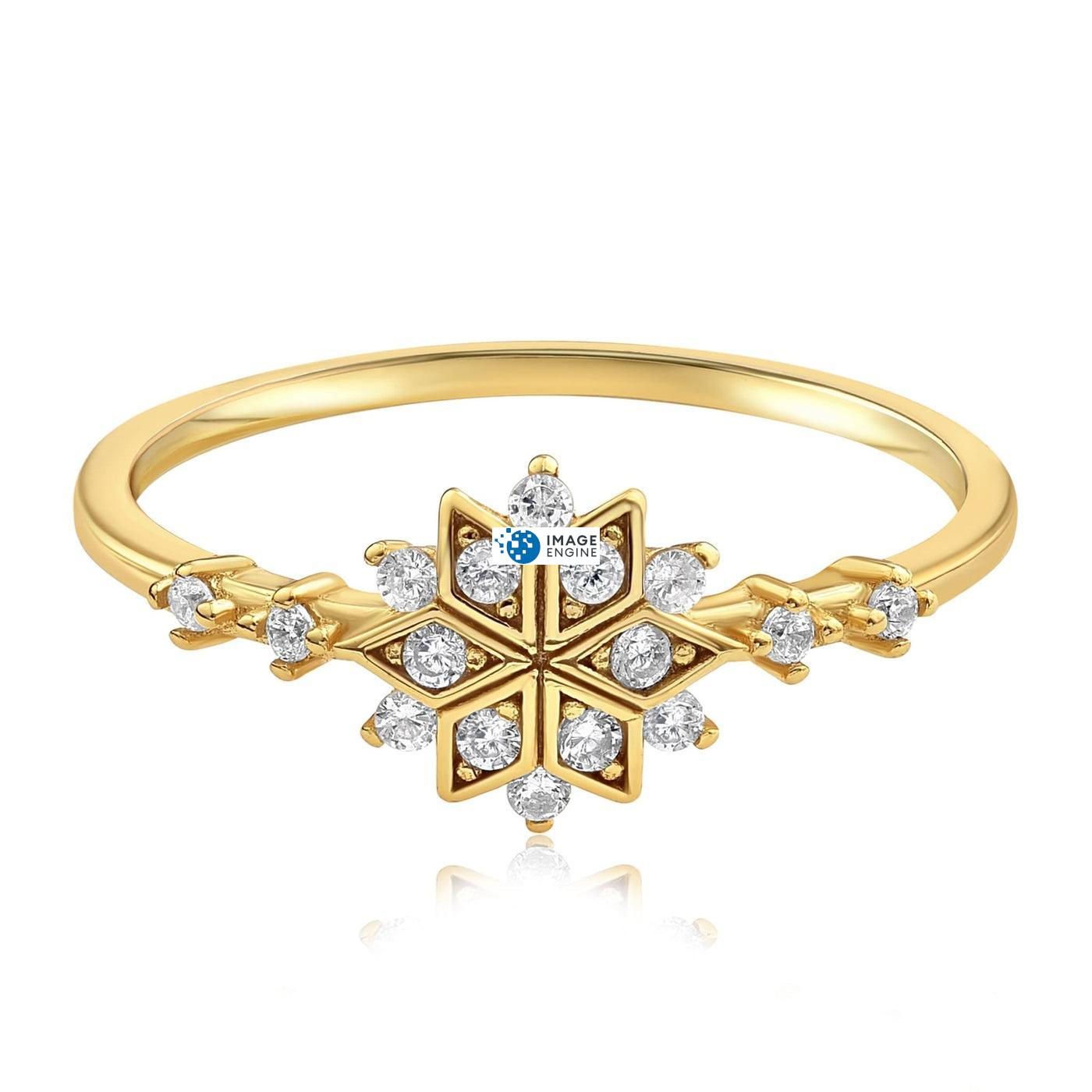 Sophia Snowflake Ring - Front View Facing Down - 18K Yellow Gold Vermeil