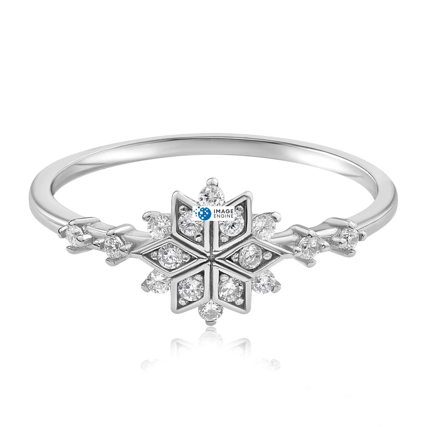 Sophia Snowflake Ring - Front View Facing Down - 925 Sterling Silver