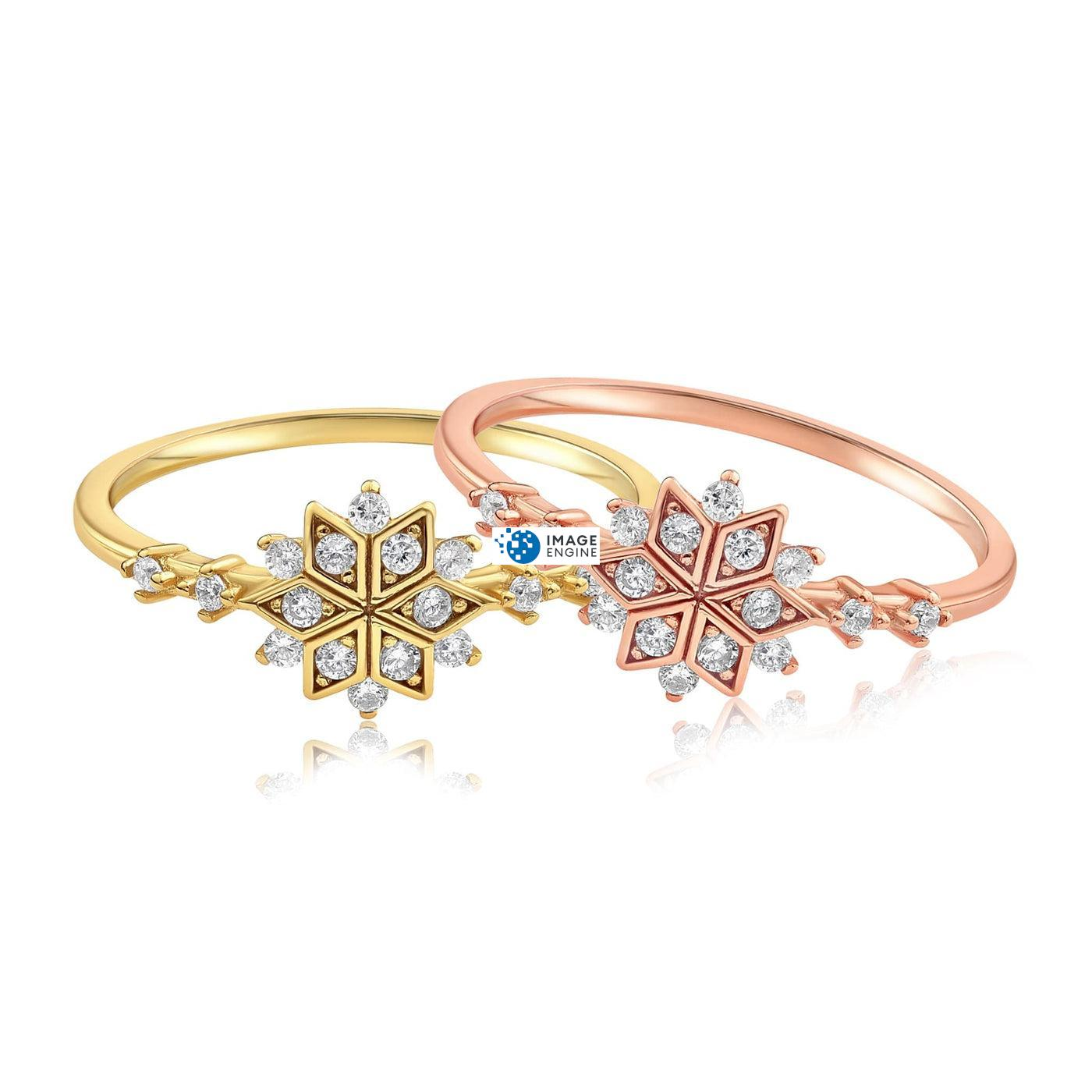 Sophia Snowflake Ring - Front View Side by Side - 18K Rose Gold Vermeil and 18K Yellow Gold Vermeil