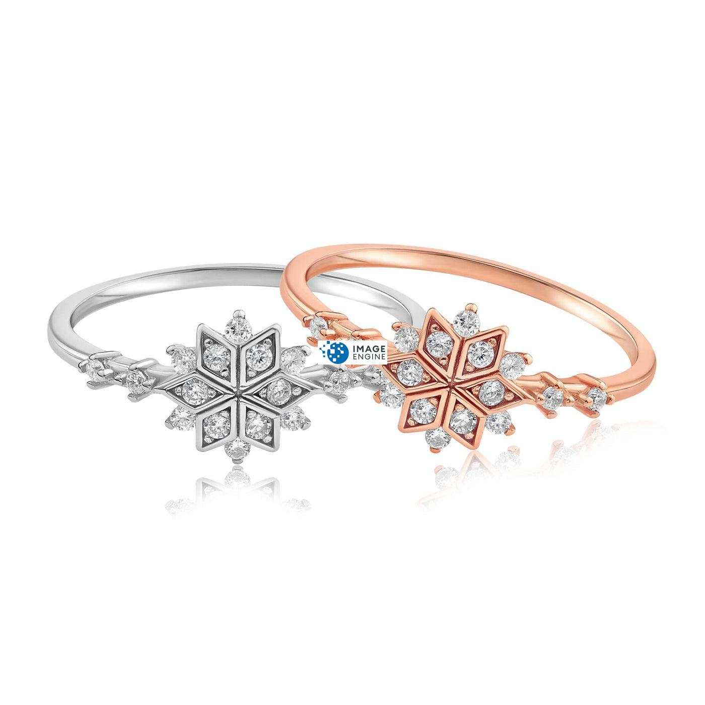Sophia Snowflake Ring - Front View Side by Side - 18K Rose Gold Vermeil and 925 Sterling Silver
