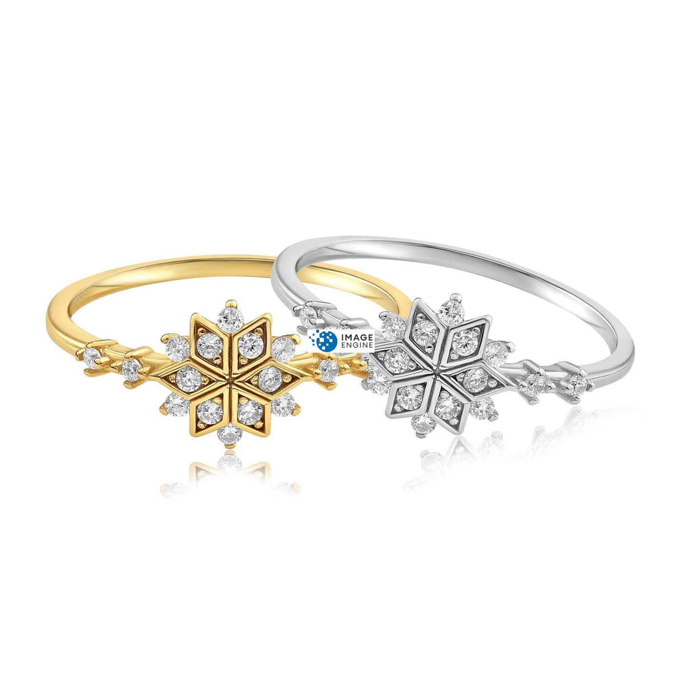 Sophia Snowflake Ring - Front View Side by Side - 18K Yellow Gold Vermeil and 925 Sterling Silver