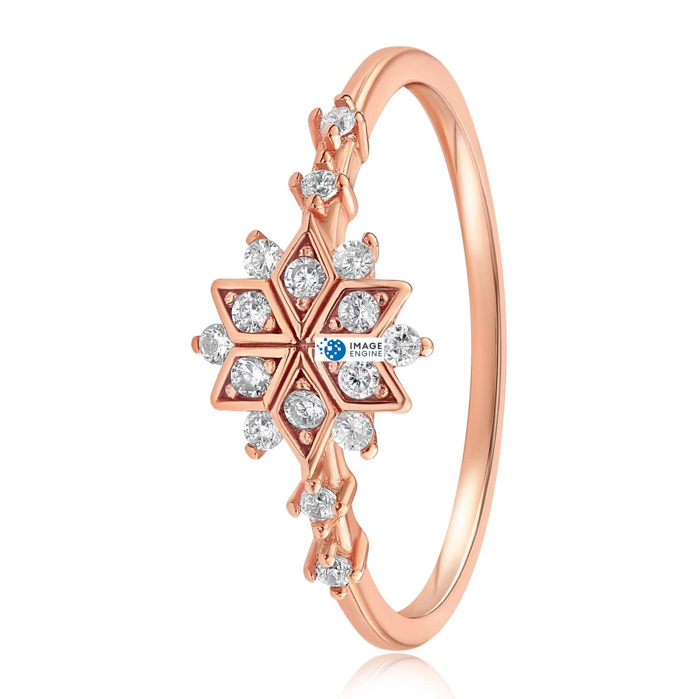 Sophia Snowflake Ring - Side View - 18K Rose Gold Vermeil