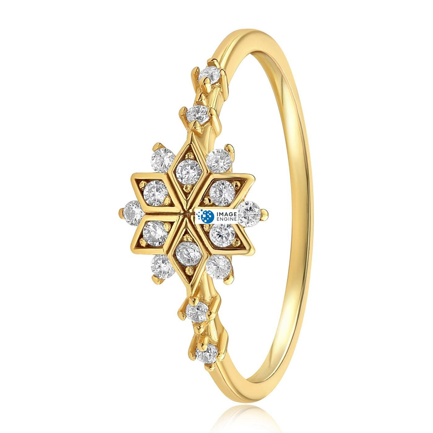 Sophia Snowflake Ring - Side View - 18K Yellow Gold Vermeil