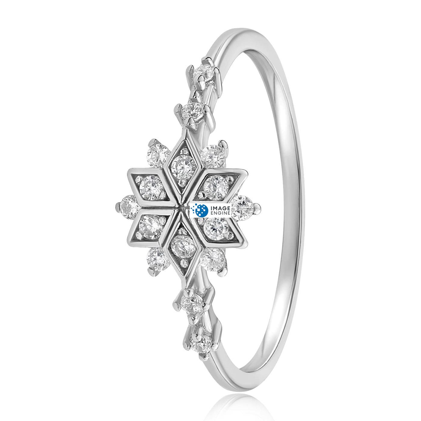 Sophia Snowflake Ring - Side View - 925 Sterling Silver