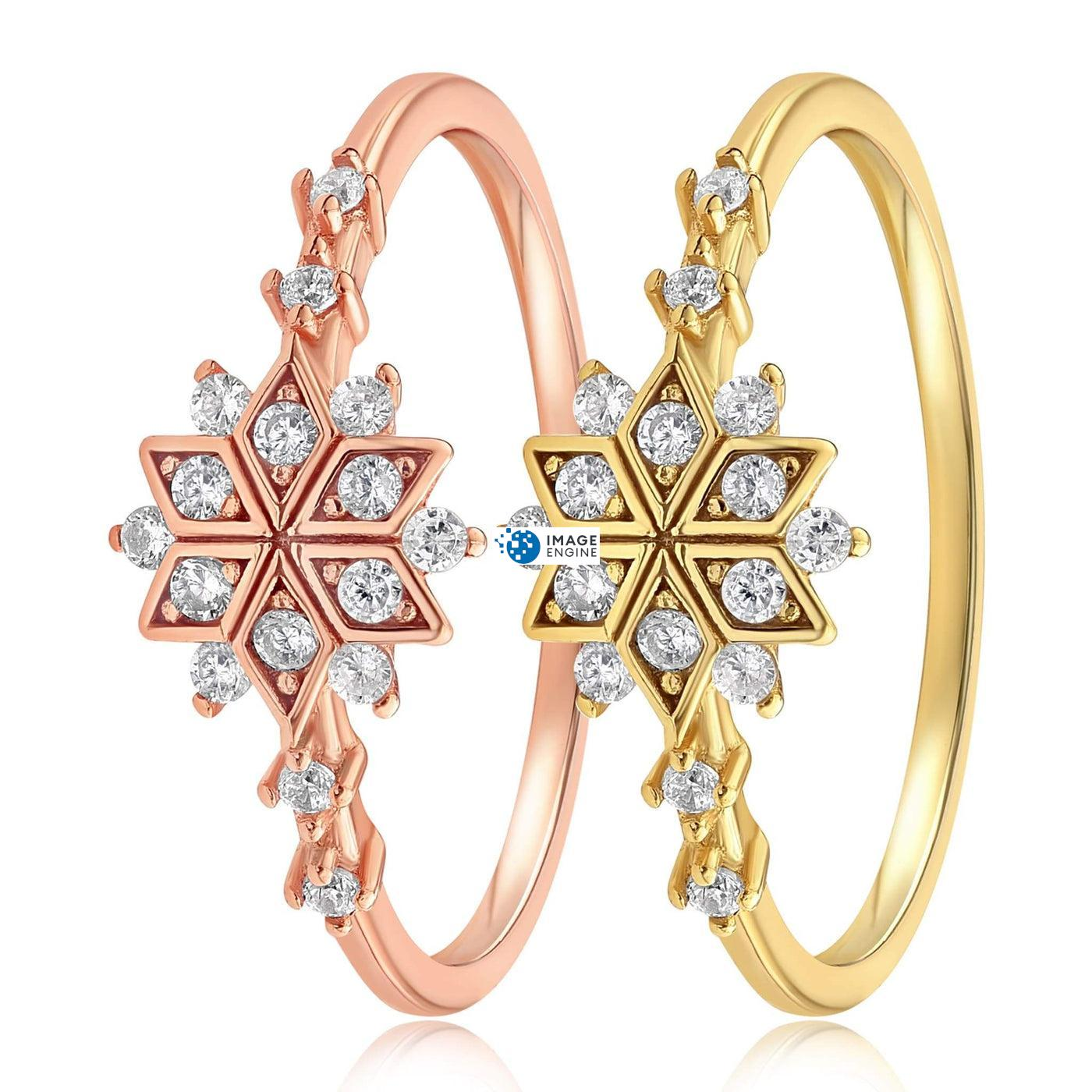 Sophia Snowflake Ring - Side by Side - 18K Yellow Gold Vermeil and 18K Rose Gold Vermeil