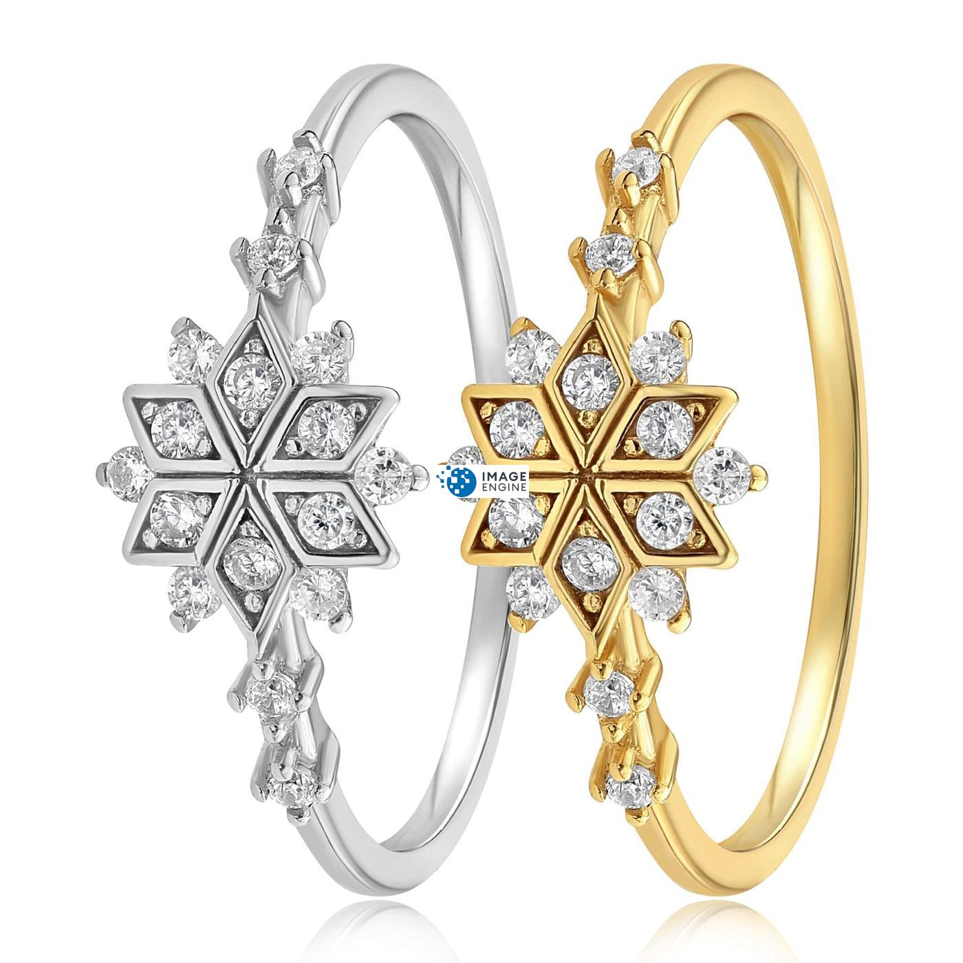Sophia Snowflake Ring - Side by Side - 18K Yellow Gold and 925 Sterling Silver