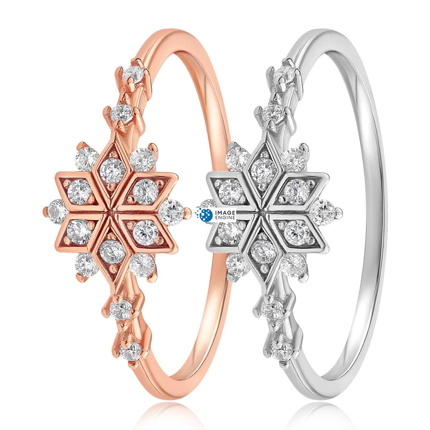 Sophia Snowflake Ring - Side by Side - 925 Sterling Silver and 18K Rose Gold Vermeil