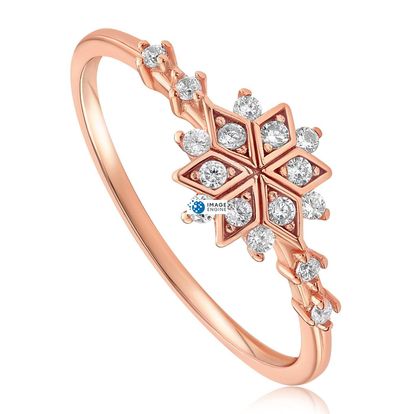 Sophia Snowflake Ring - Three Quarter View - 18K Rose Gold Vermeil
