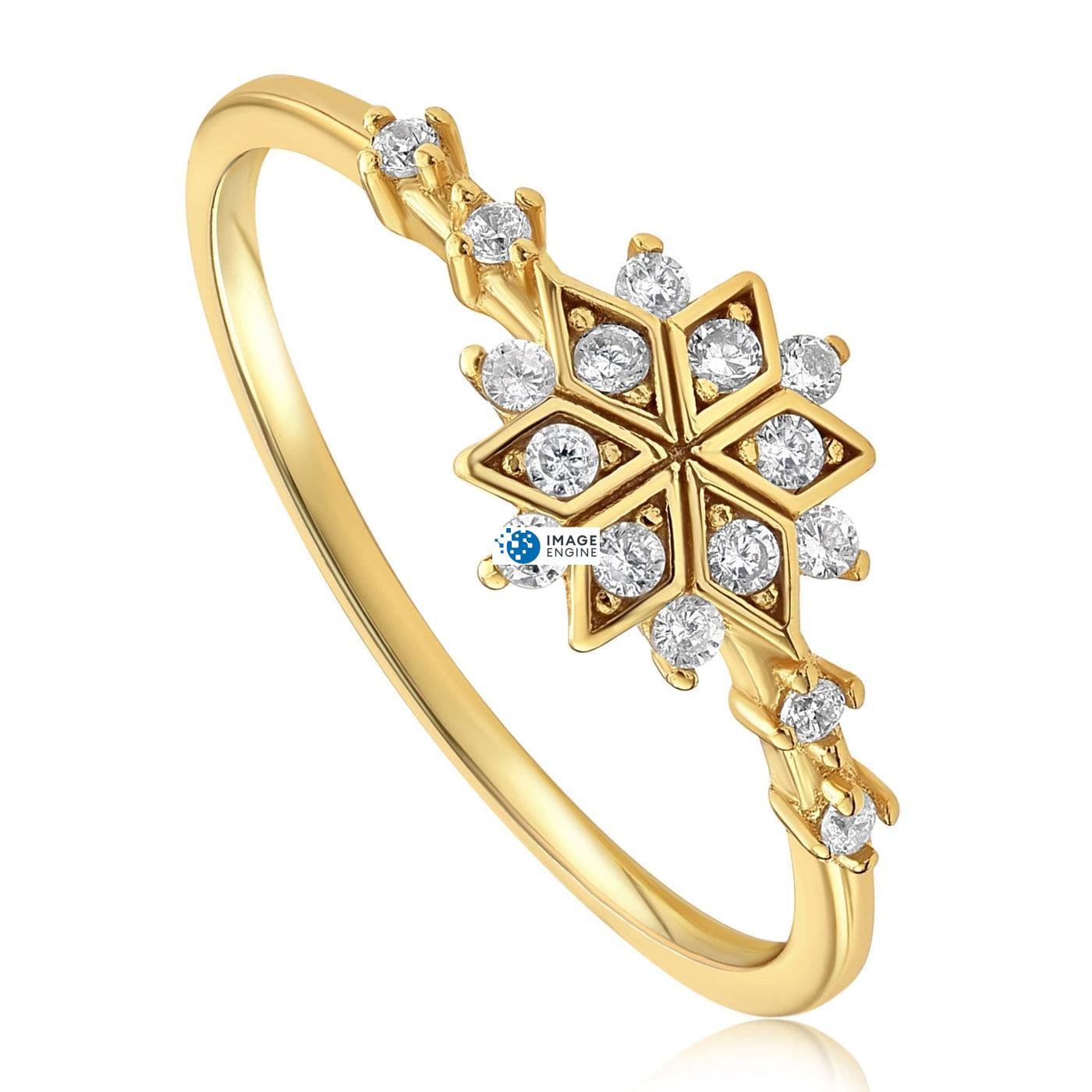 Sophia Snowflake Ring - Three Quarter View - 18K Yellow Gold Vermeil