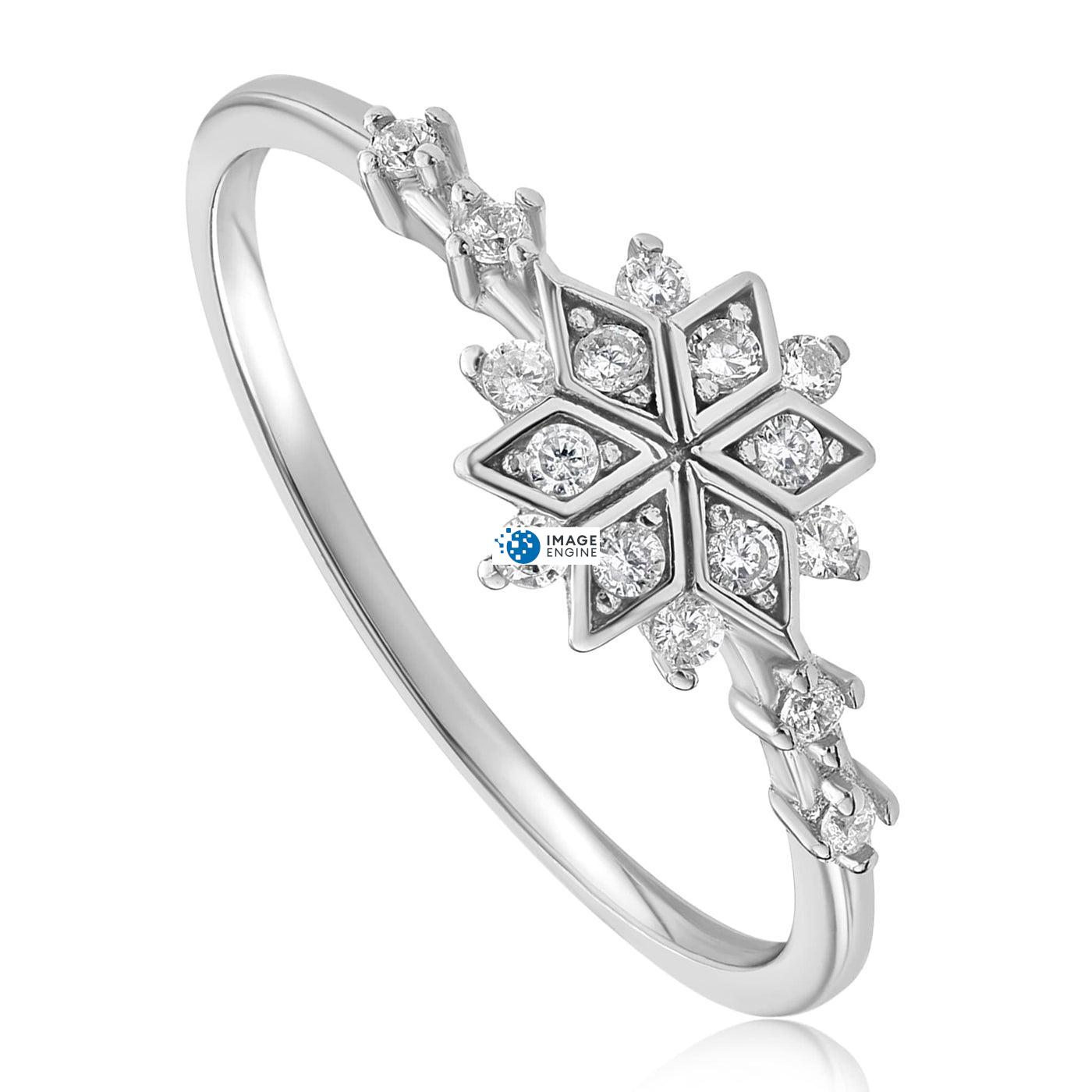 Sophia Snowflake Ring - Three Quarter View - 925 Sterling Silver