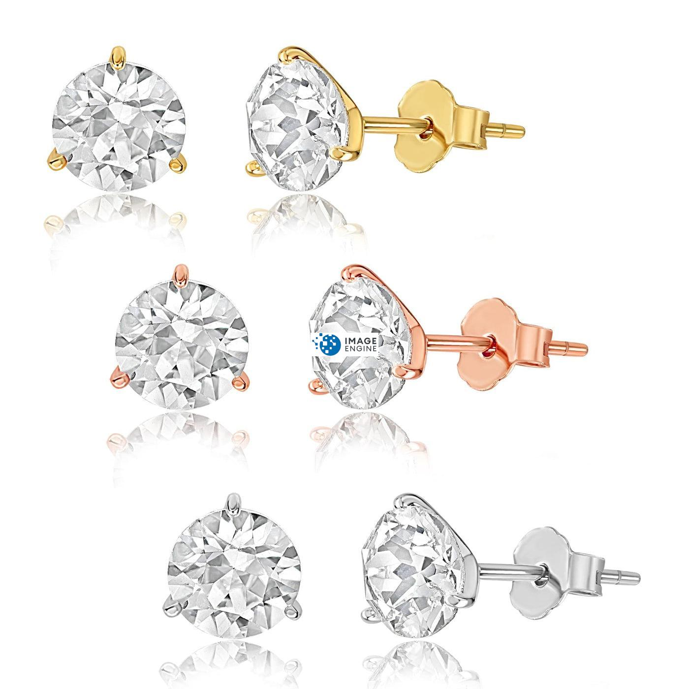 Swarovski Stud Earrings - Facing to the Left - Trio