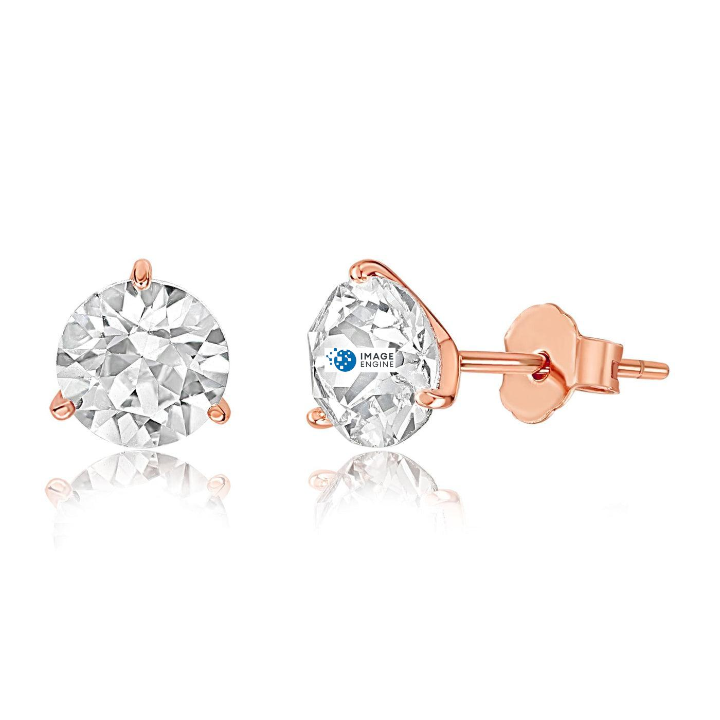 Swarovski Stud Earrings - Facing to the Left Down - 18K Rose Gold Vermeil