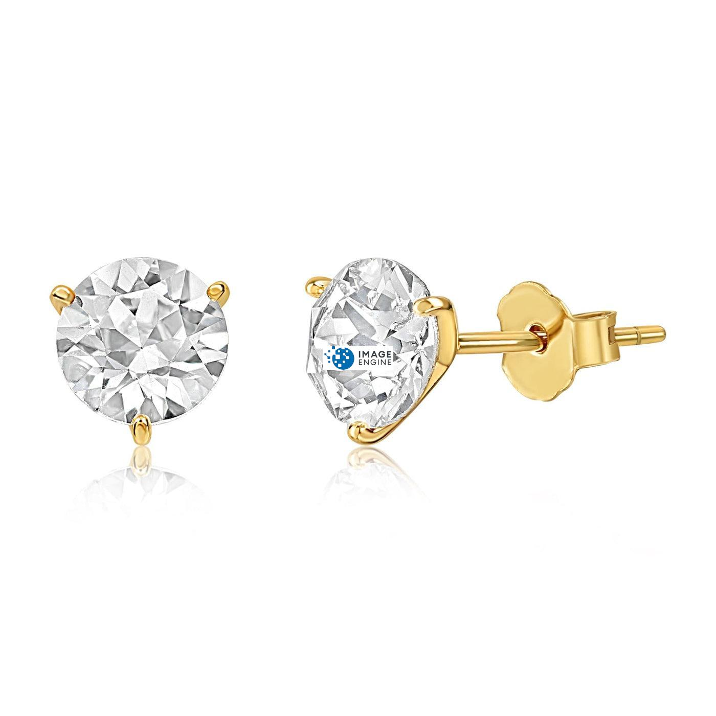 Swarovski Stud Earrings - Facing to the Left Down - 18K Yellow Gold Vermeil