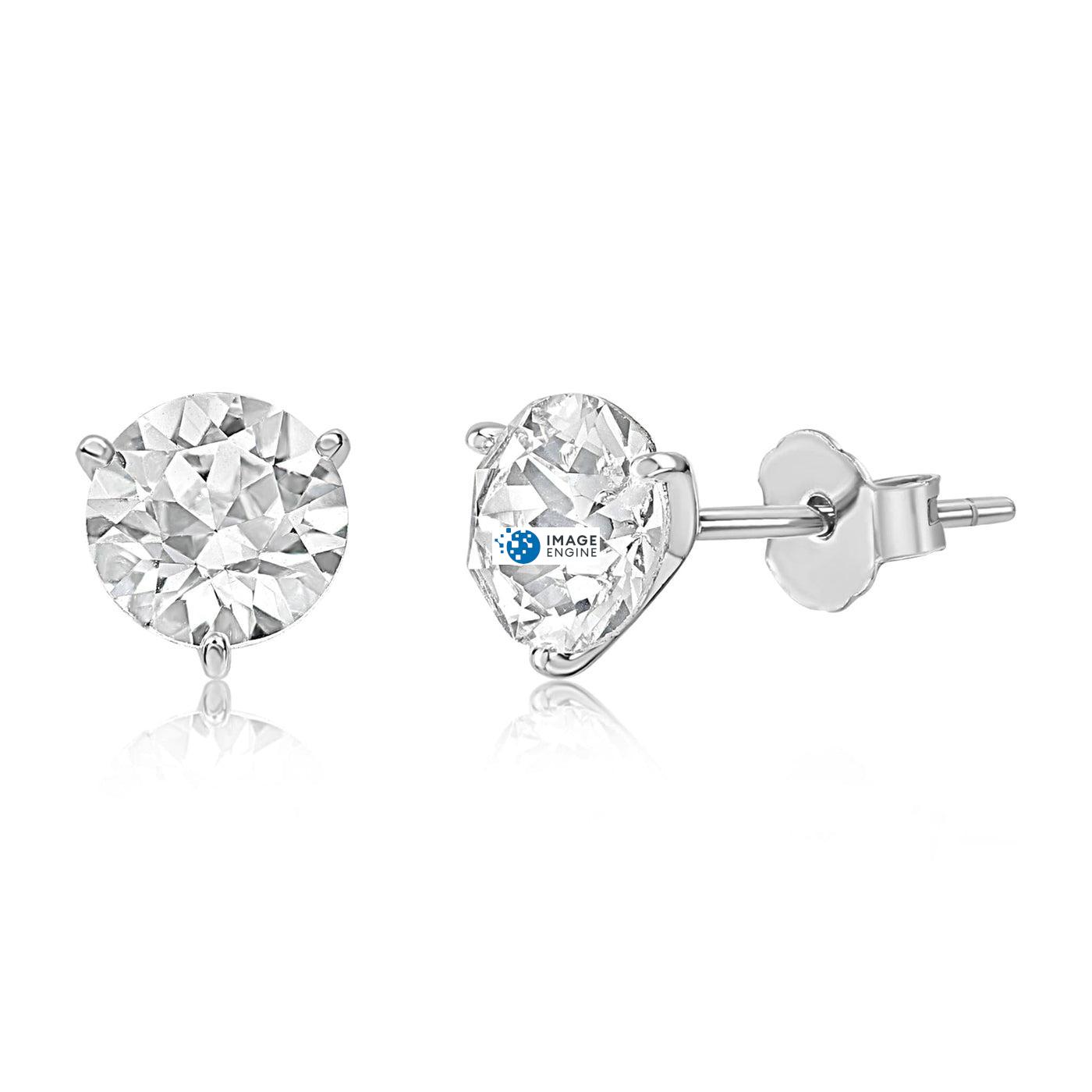 Swarovski Stud Earrings - Facing to the Left Down - 925 Sterling Silver
