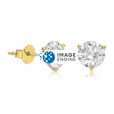 Swarovski Stud Earrings - Facing to the Right - 18K Yellow Gold Vermeil Featured