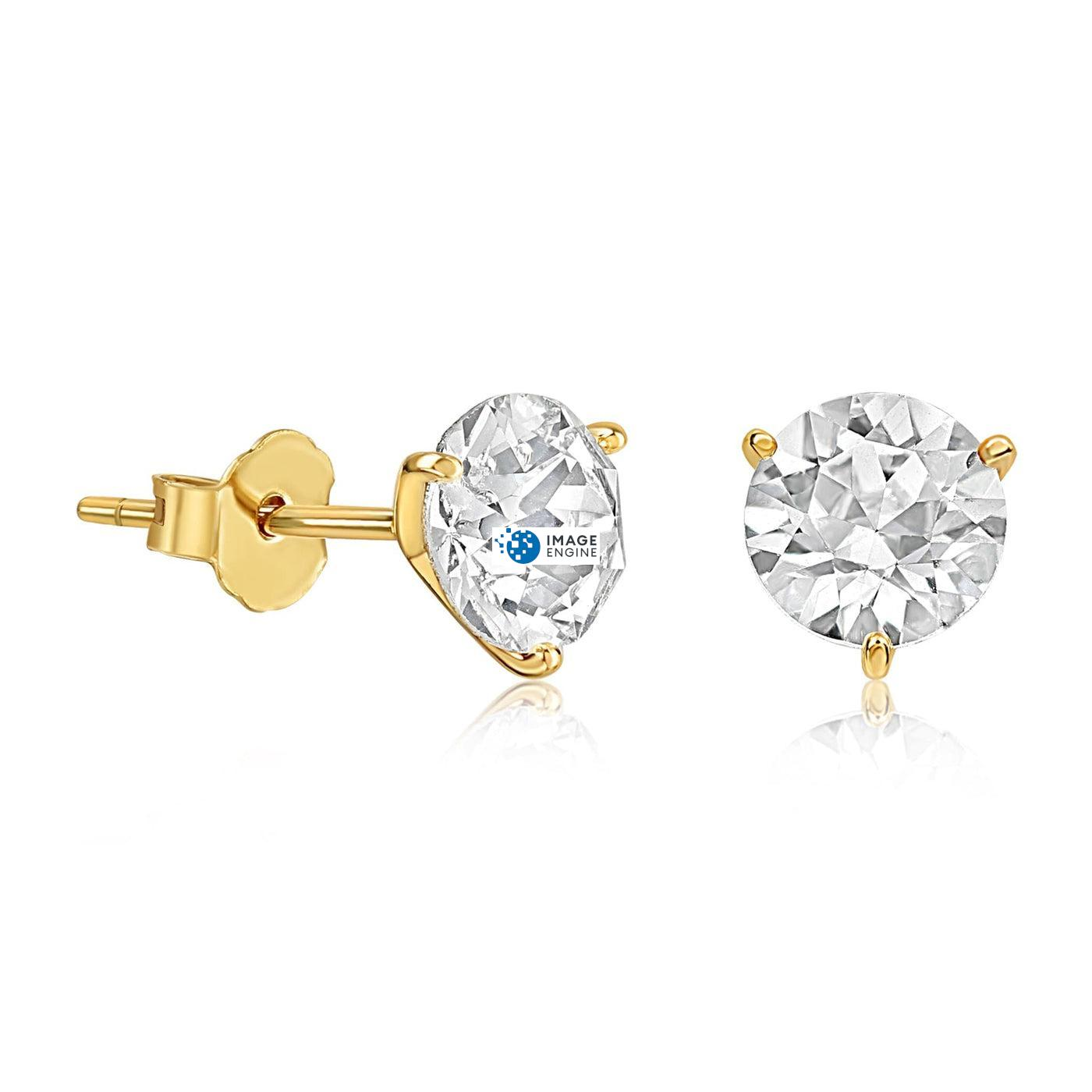 Swarovski Stud Earrings - Facing to the Right - 18K Yellow Gold Vermeil