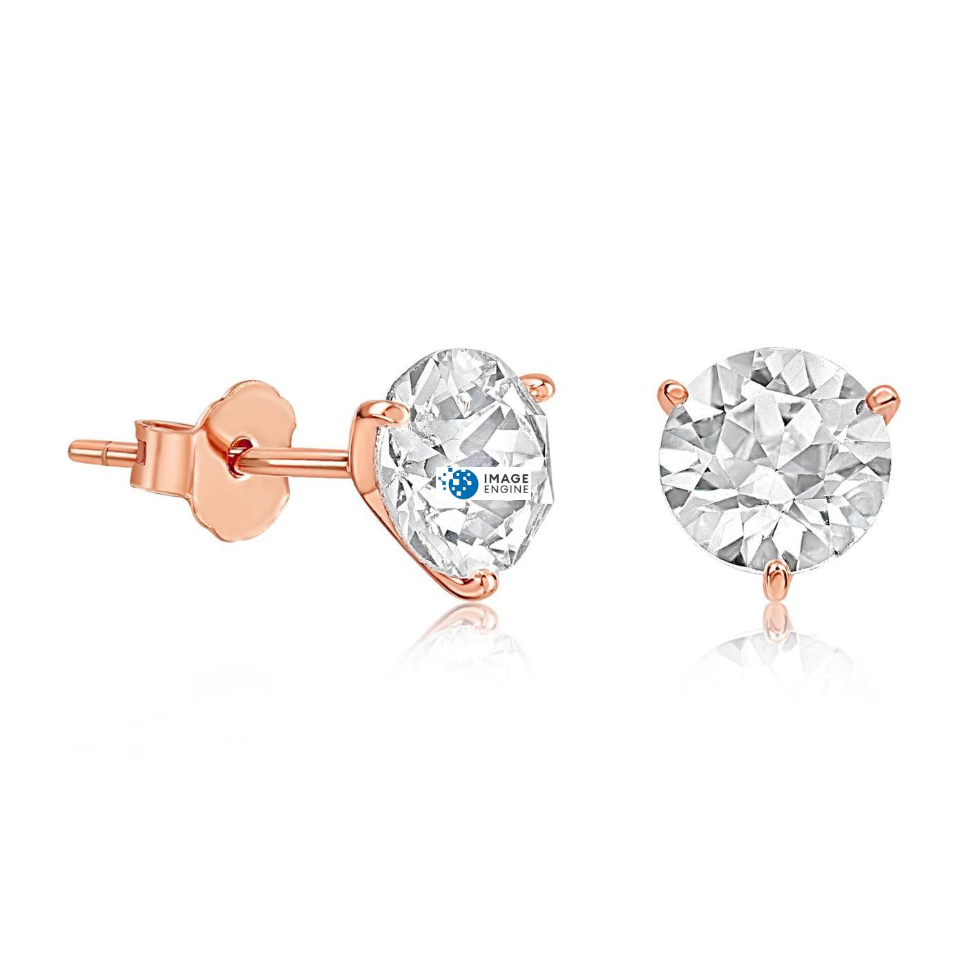 Swarovski Stud Earrings - Facing to the Right Down - 18K Rose Gold Vermeil