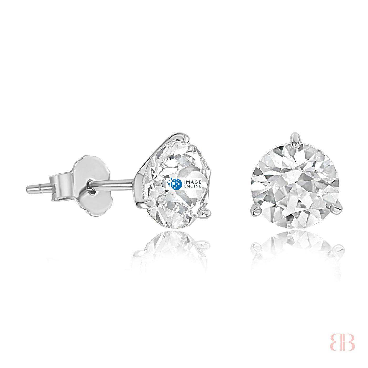 Swarovski Stud Earrings - Facing to the Right Up - 925 Sterling Silver