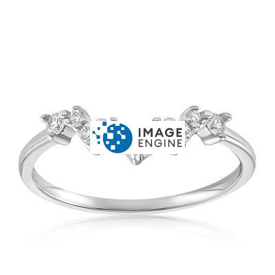 Valerie V Stack Cluster Ring - Front View Facing Up - 925 Sterling Silver